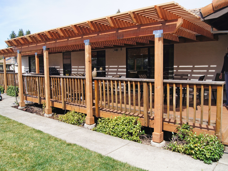 Gallery of deck projects deck master fine decks for Redwood patio cover